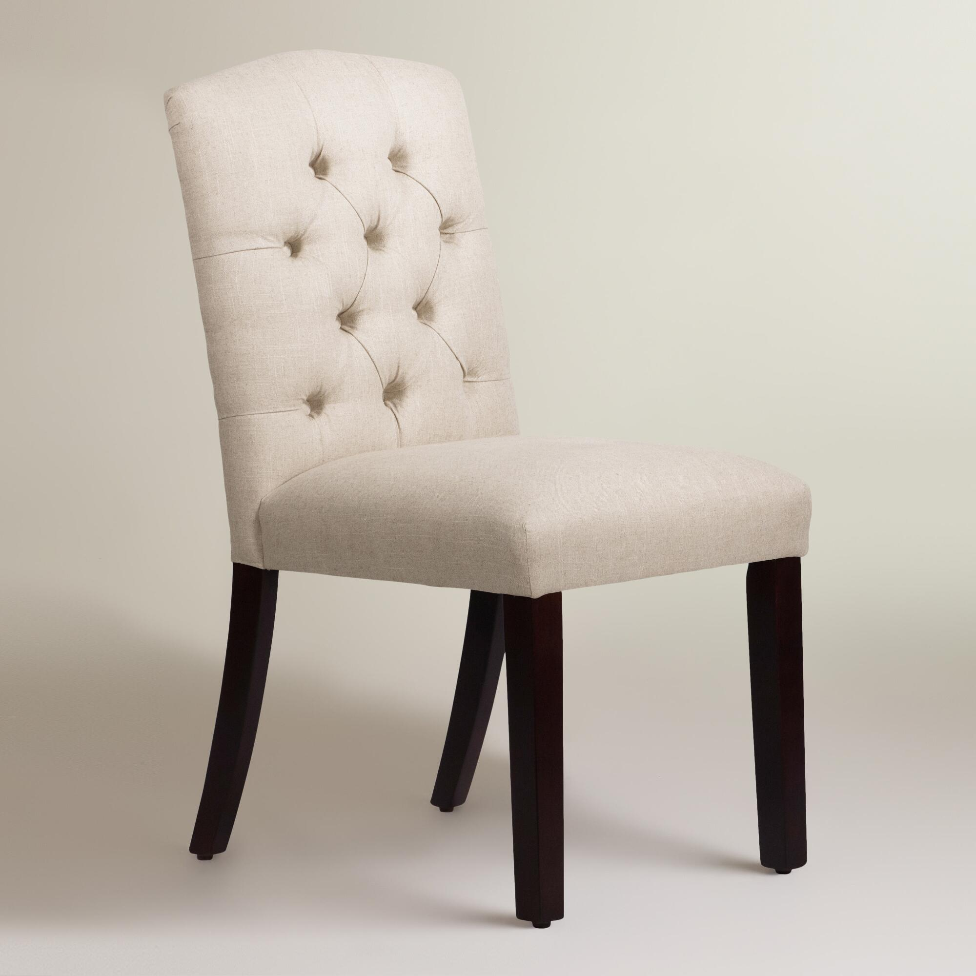 Linen Tufted Zoey Upholstered Dining Chair Fabric Talc
