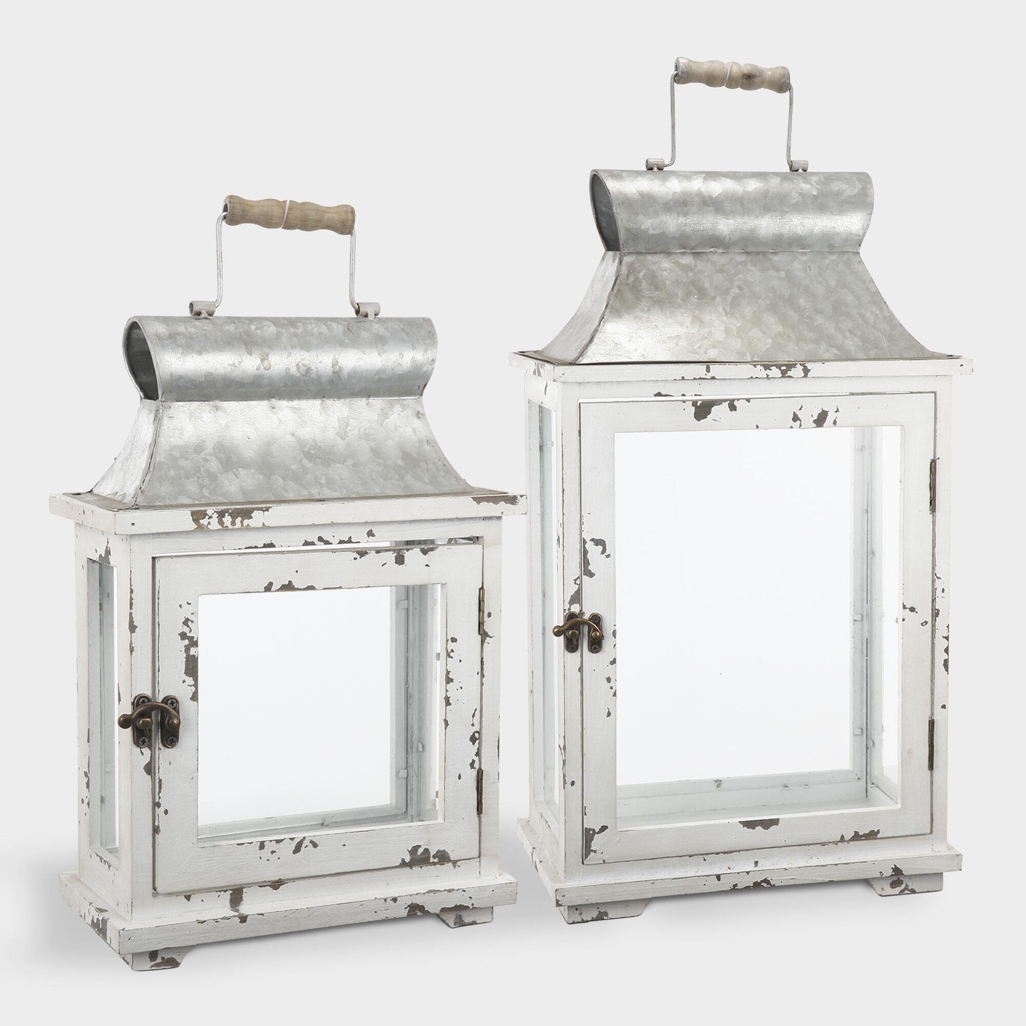White Wood and Glass Lanterns Set of 2 by World Market
