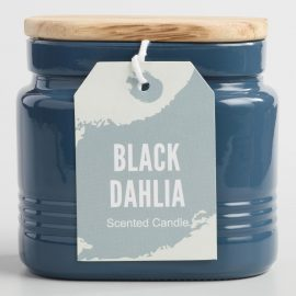Black Dahlia Opaque Glass Jar Candle with Wood Lid: Black/Green/Purple/Yellow - Fabric by World Market