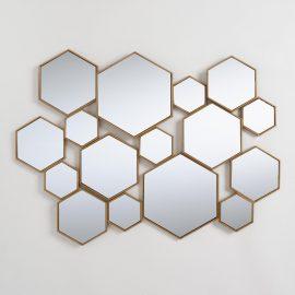Brass Metal Hexagon Mirror Panel: Metallic by World Market
