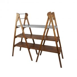 Double Library Ladder with Galvanized Shelf