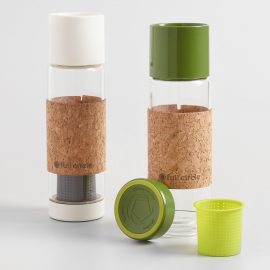 Glass Tea Infuser Travel Mugs with Cork Sleeves Set of 2: Metallic by World Market
