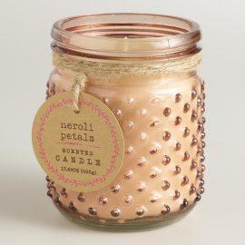 Pink Neroli Petals Glass Hobnail Jar Candle by World Market