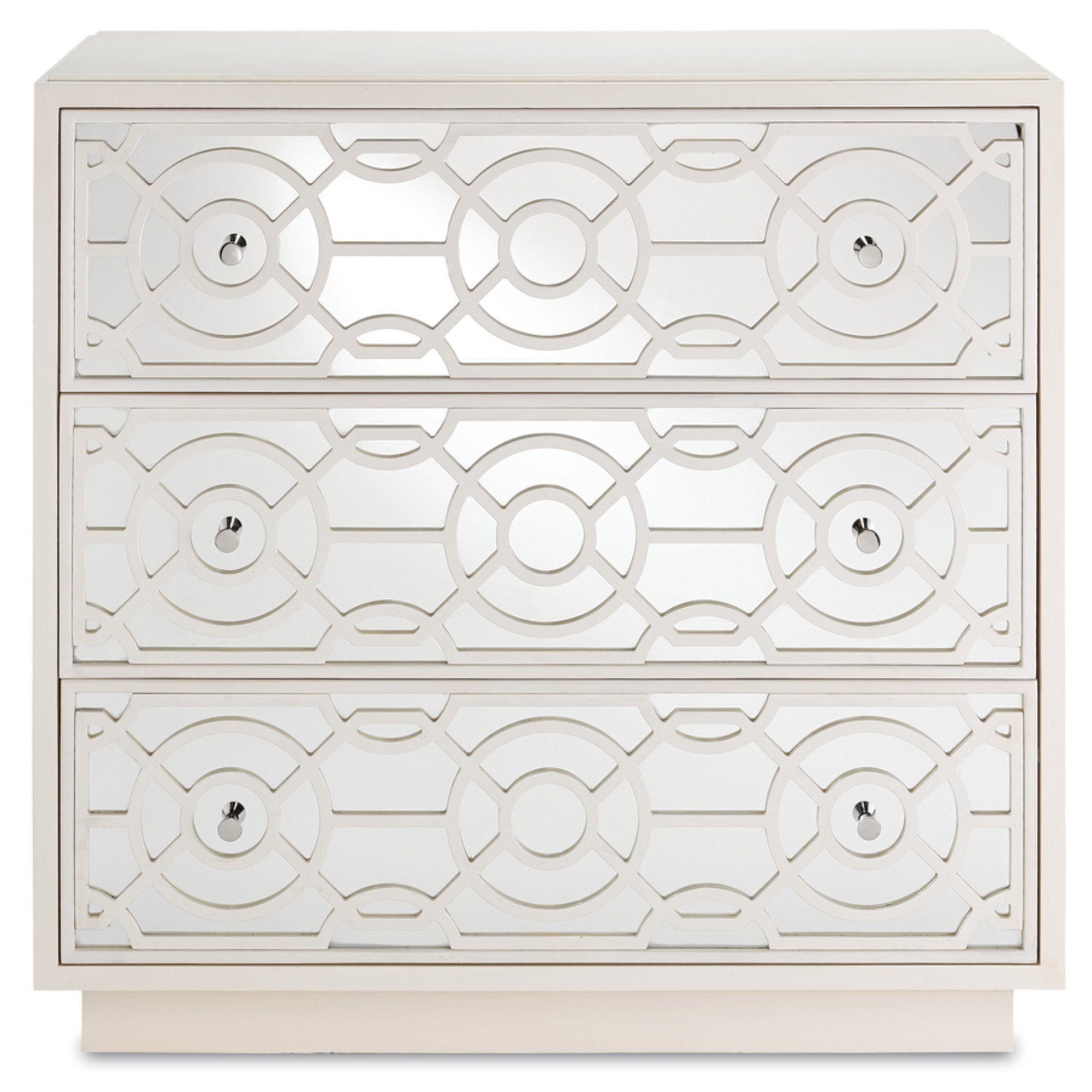 Alisa Three Drawer Chest in Marshmallow design by Currey & Company