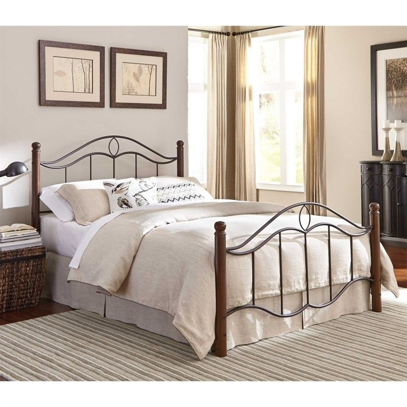Fashion Bed Cassidy Metal Poster Bed in Walnut-Full