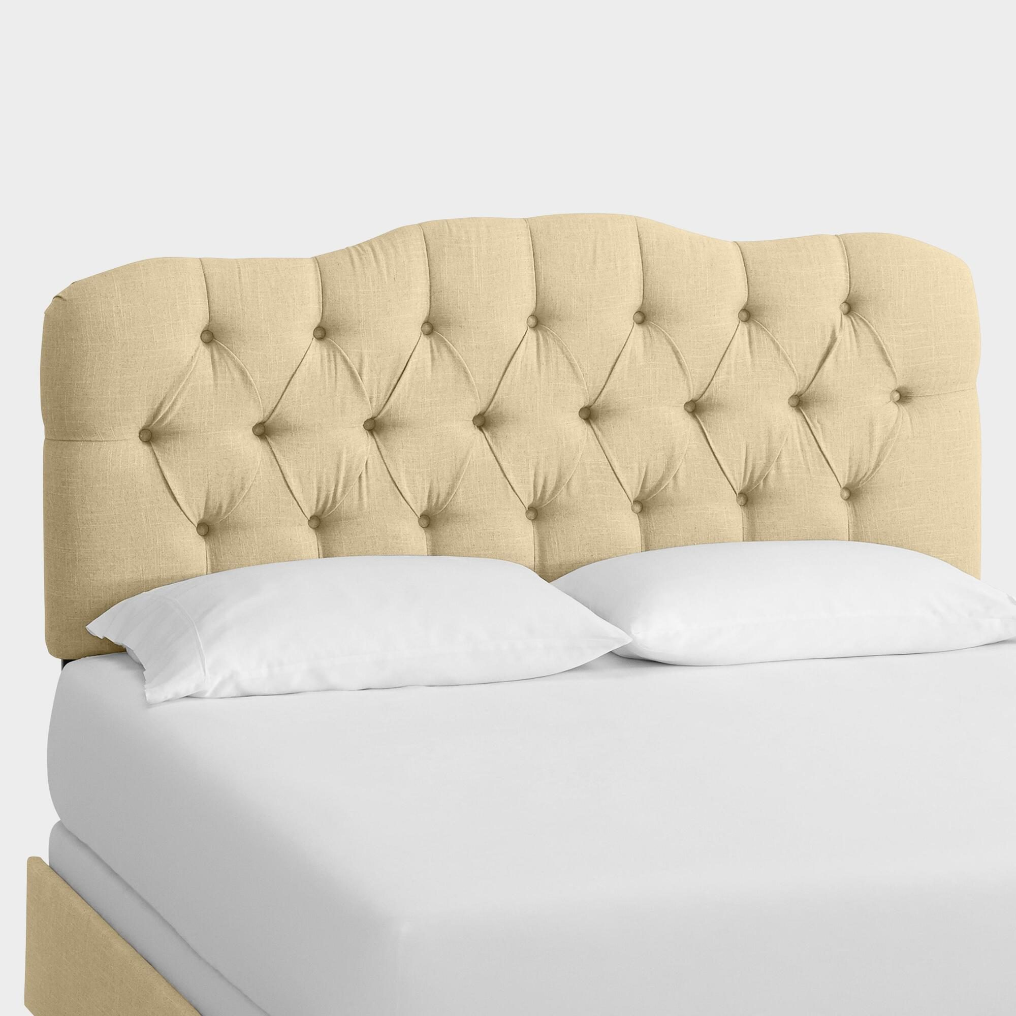 Linen Rae Upholstered Bed: Brown/Natural - Fabric - Full Bed by World Market Full/Sandstone