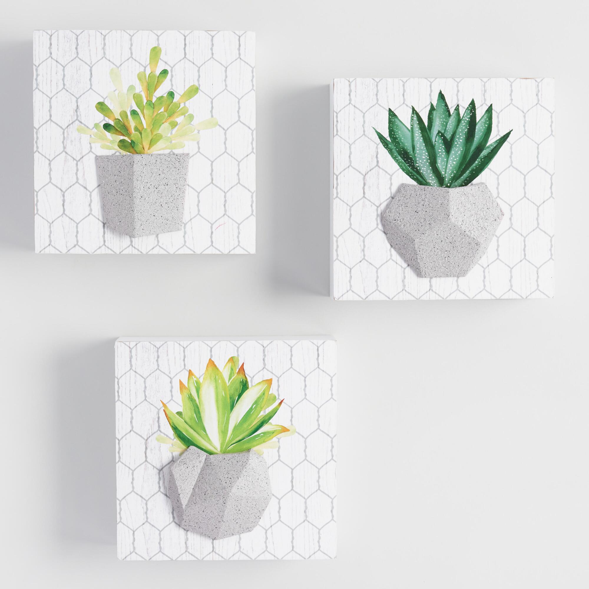 Potted Cactus Wall Art Set of 3 by World Market