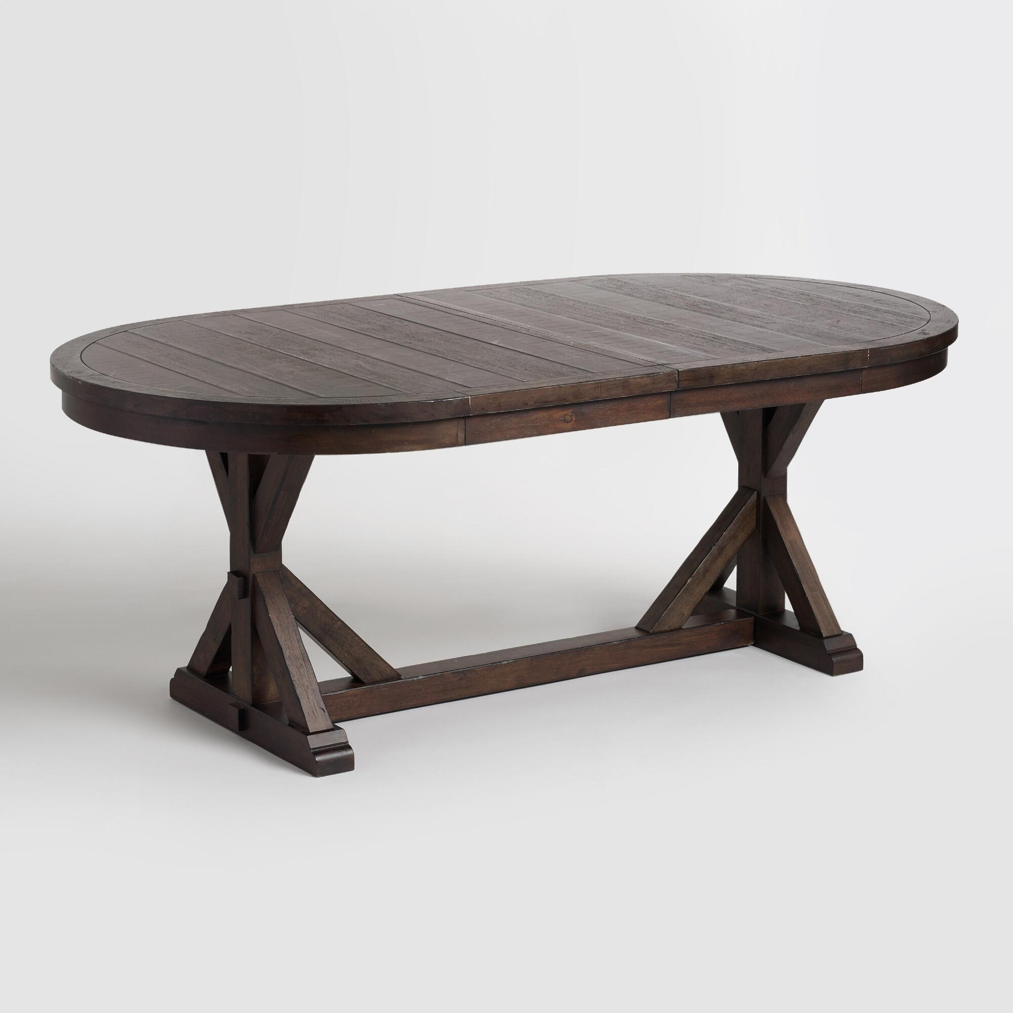 Rustic Brown Oval Wood Brooklynn Extension Dining Table ...