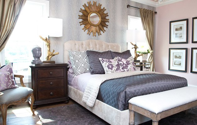 Glam bedroom with gold accents