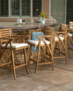 Hermosa Outdoor Acacia Wood Barstool with Cushion (Set of 4) by Christopher Knight Home