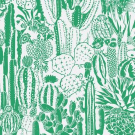 Cactus Spirit Screen Printed Wallpaper in Color Kelly 'Kelly Green on White'