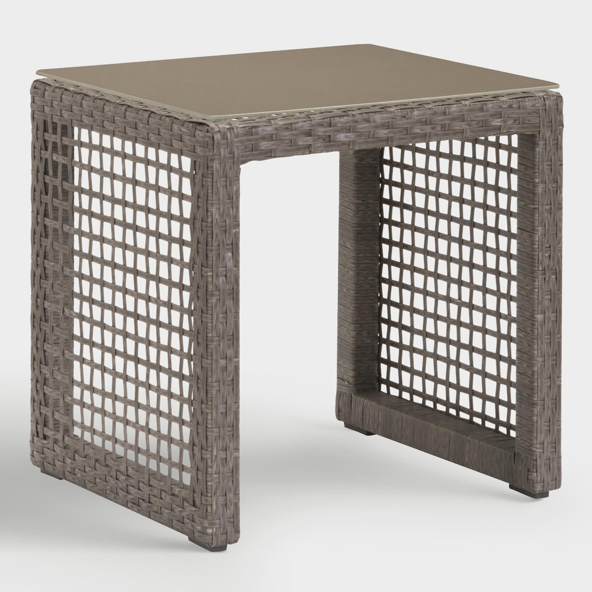 All Weather Wicker Erich Outdoor Patio Occasional End Table: Gray - Resin by World Market