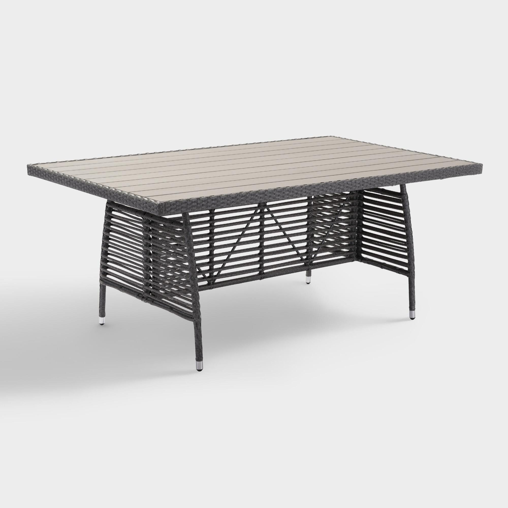 All Weather Wicker Levante Outdoor Patio Dining Table: Gray - Resin by World Market