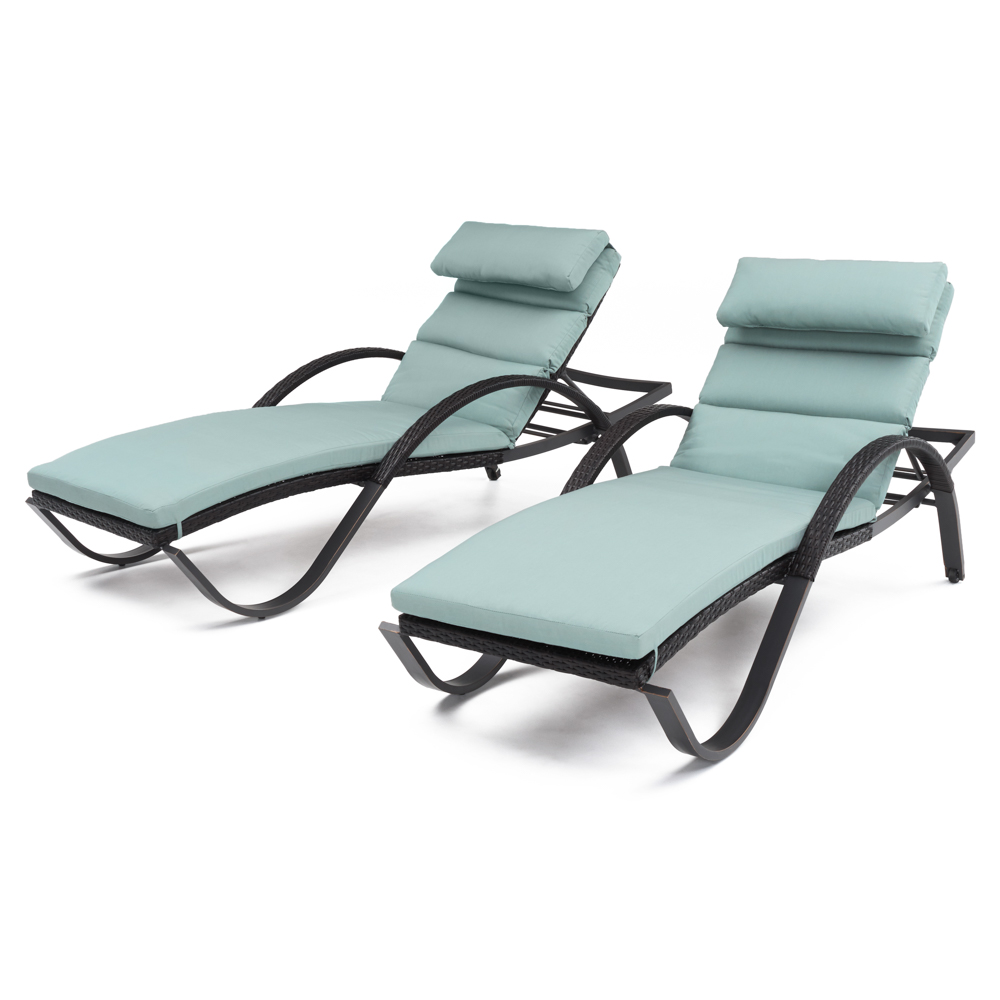 Deco™ Chaise Lounges with Cushions - Bliss Blue