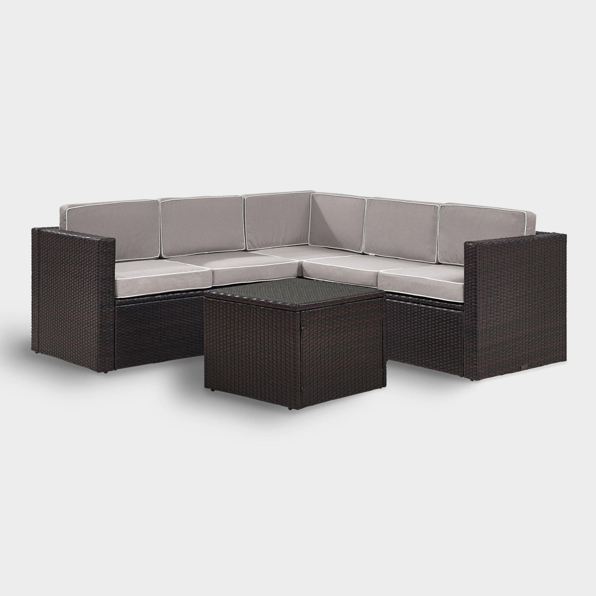 Espresso All Weather 6 Pc Outdoor Patio Sectional & Gray Cushions by World Market
