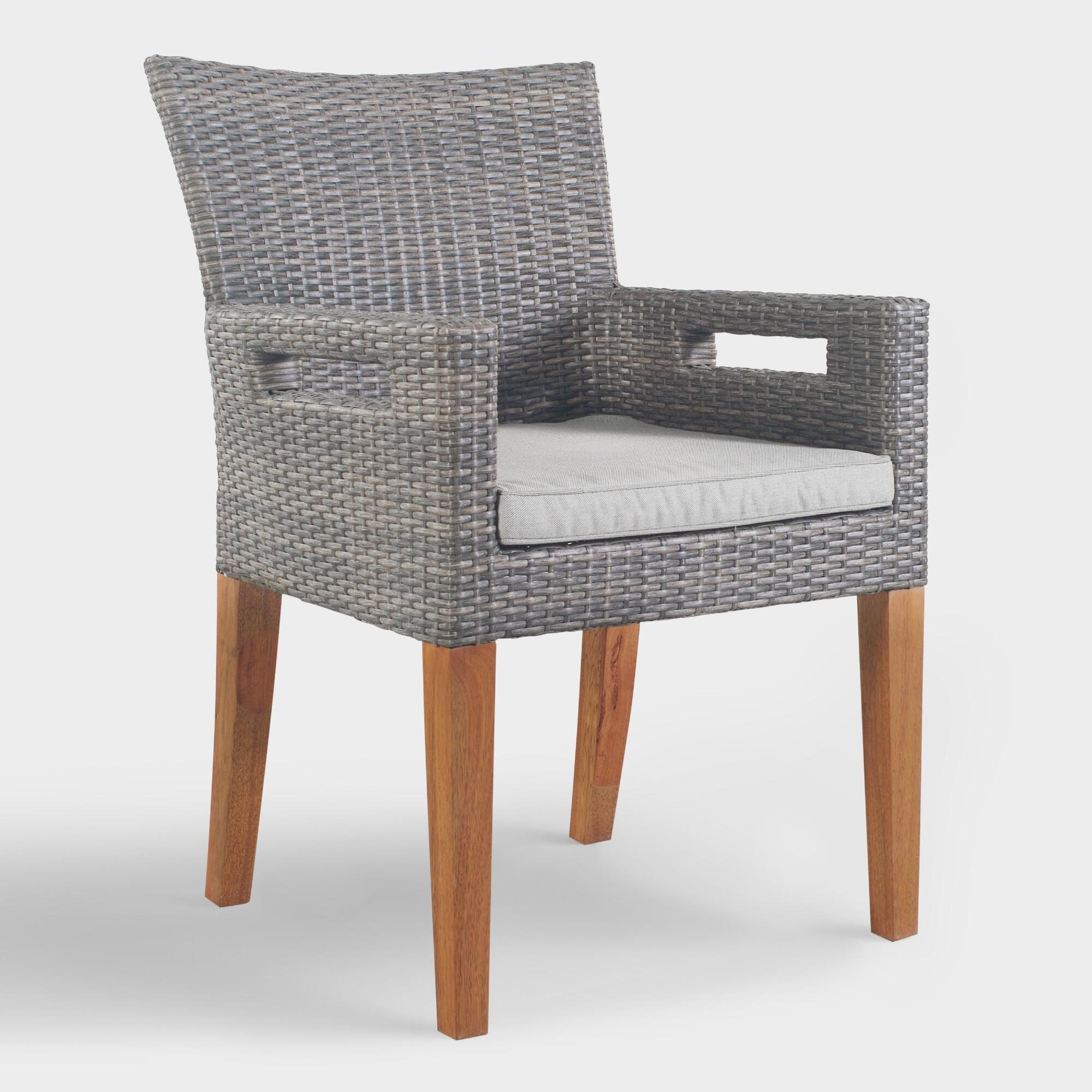 Gray All Weather Wicker Hakui Armchairs Set of 2 - Resin by World Market