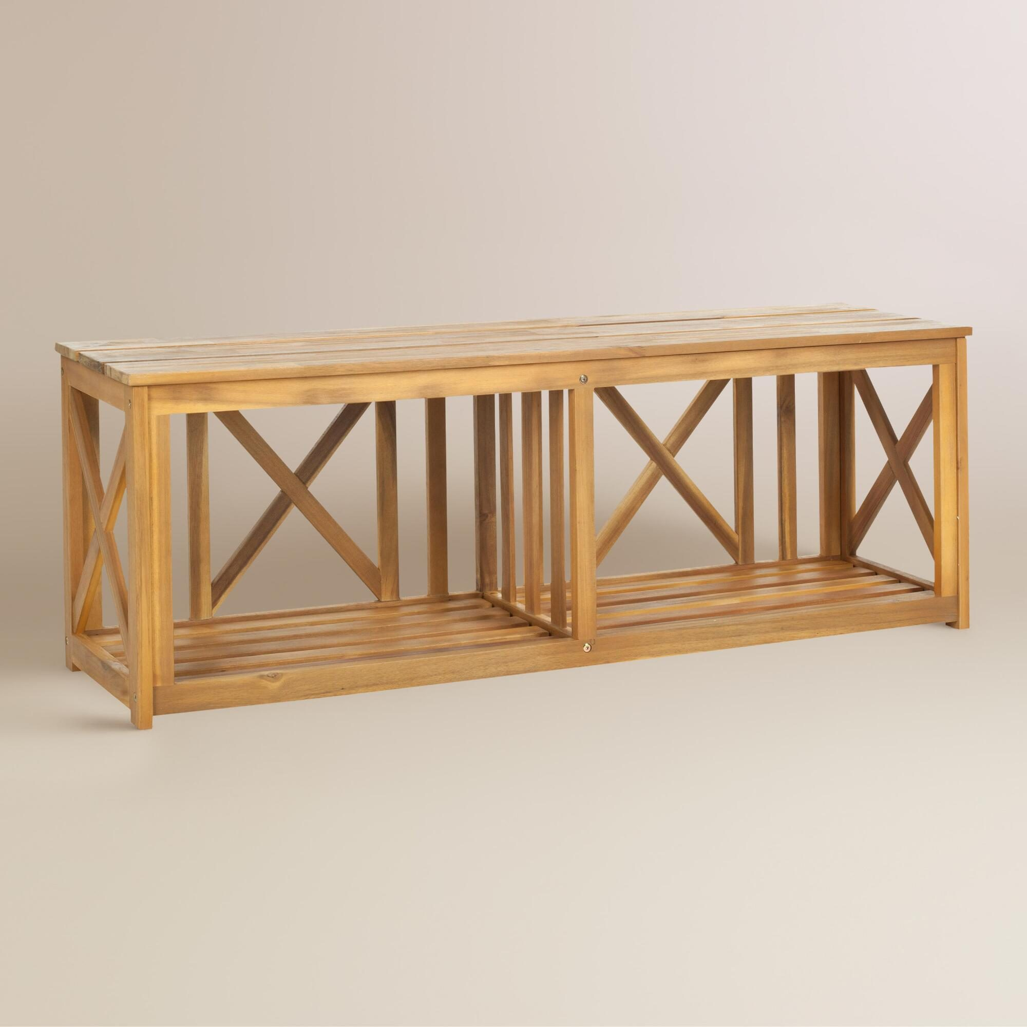 Natural Brown Wood Adlon Outdoor Patio Bench by World Market