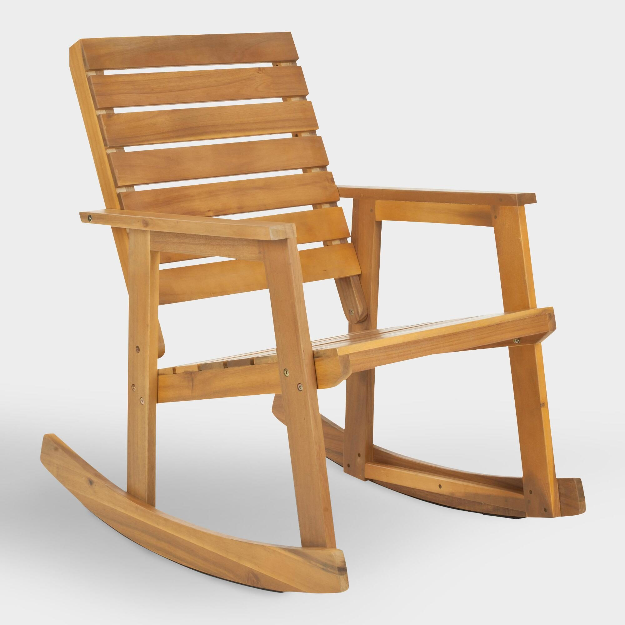 Natural Brown Wood Outdoor Patio Rocking Chair by World Market