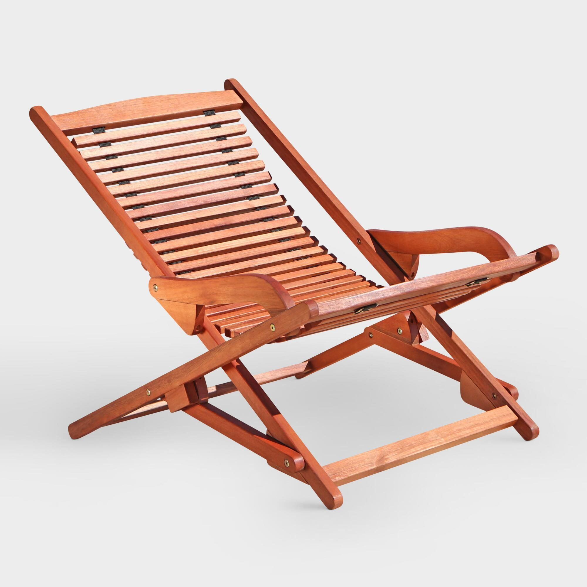 Patio Folding Chaise Lounge: Natural - Wood by World Market