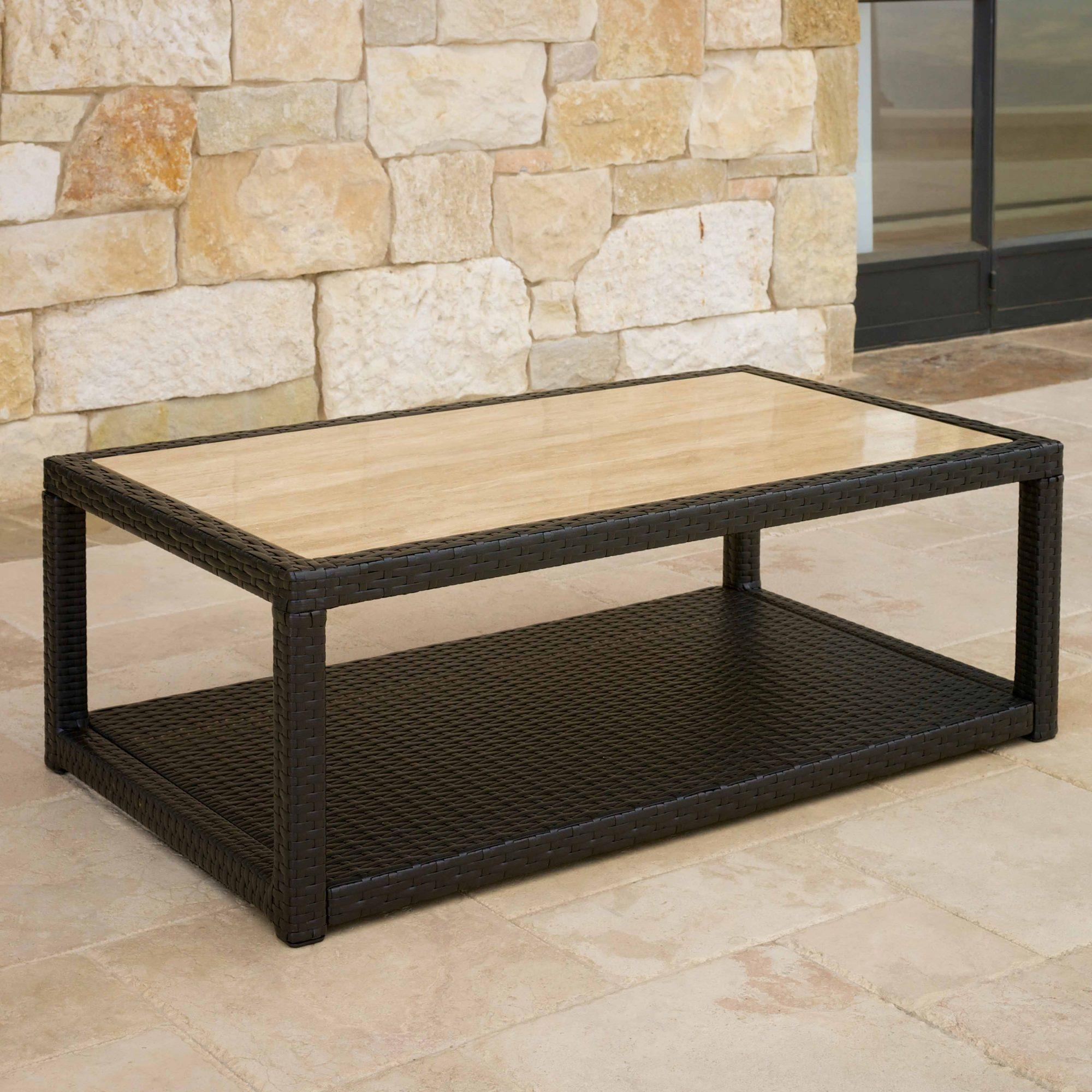 Portofino™ Comfort 26x46 Stone Top Coffee Table - Heather Beige