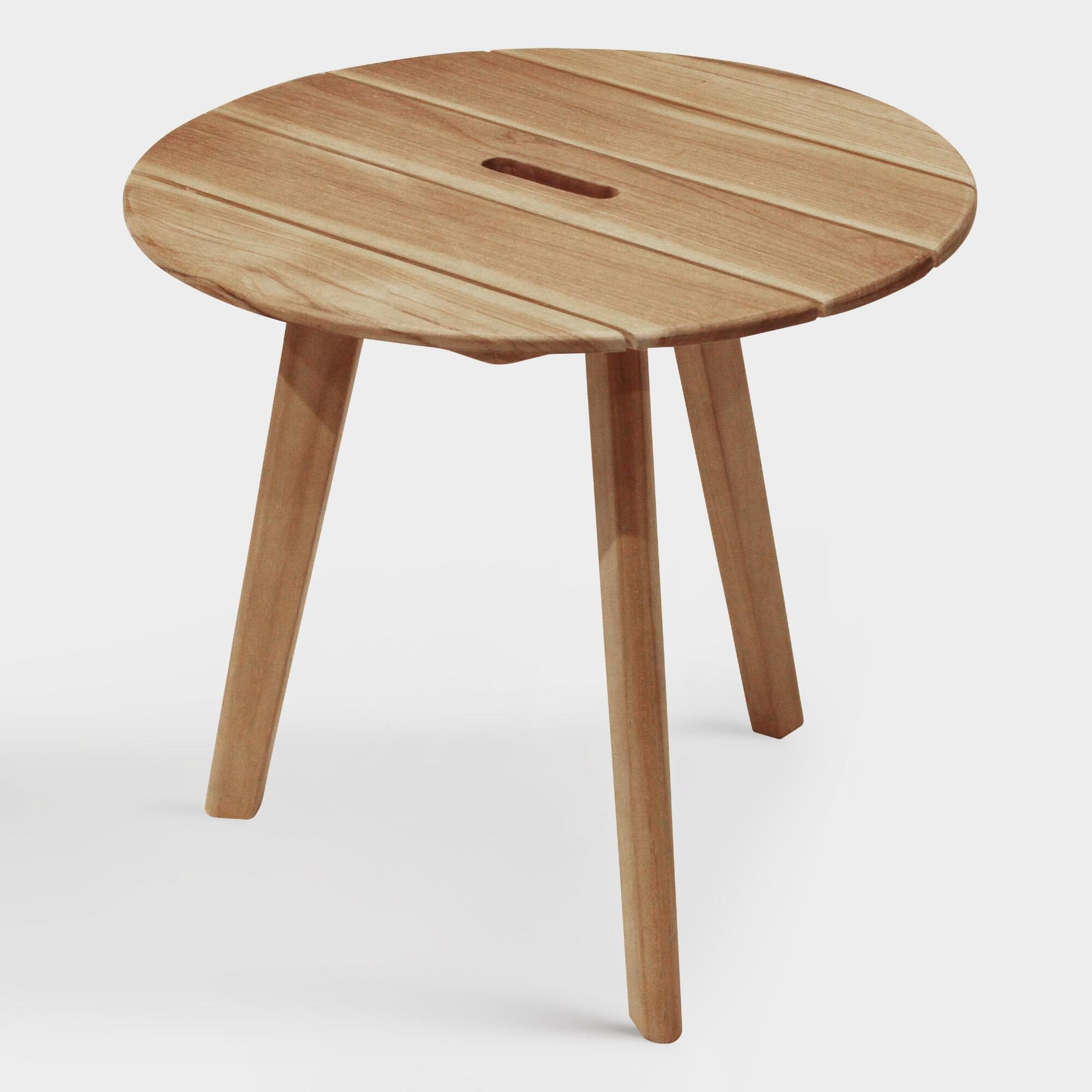 Round Teak Wood Hakui Accent Table by World Market