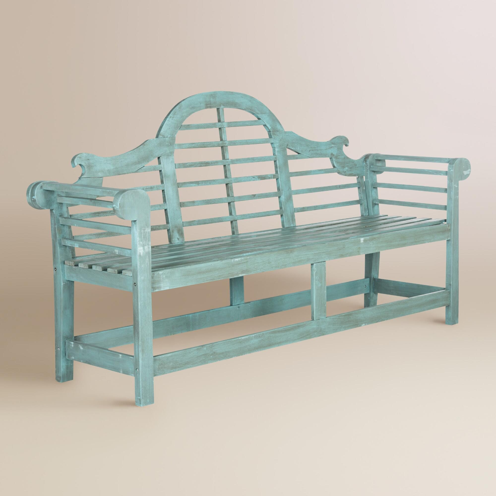 Sea Blue Wood Nerano Outdoor Patio Bench by World Market