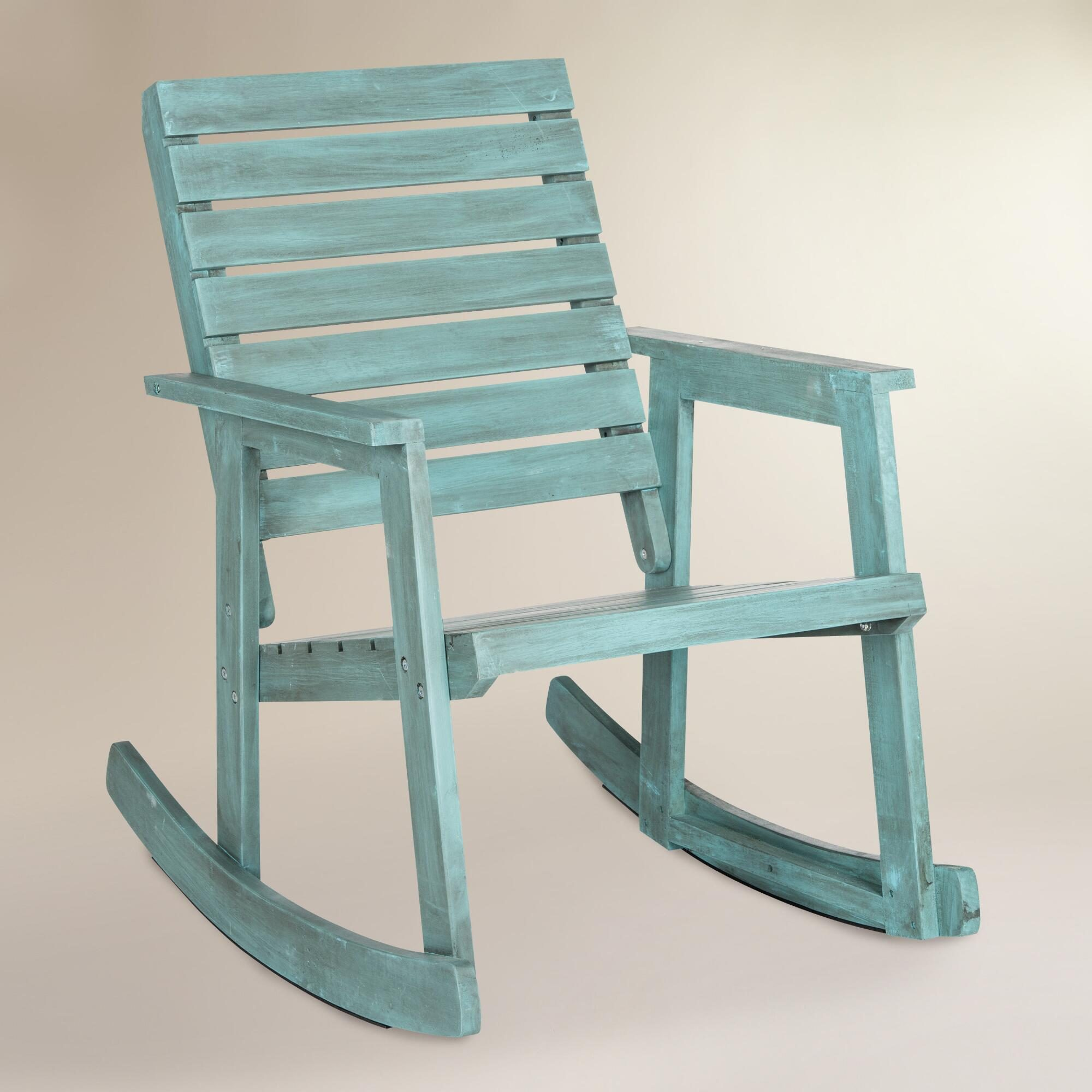 Sea Blue Wood Outdoor Patio Rocking Chair by World Market