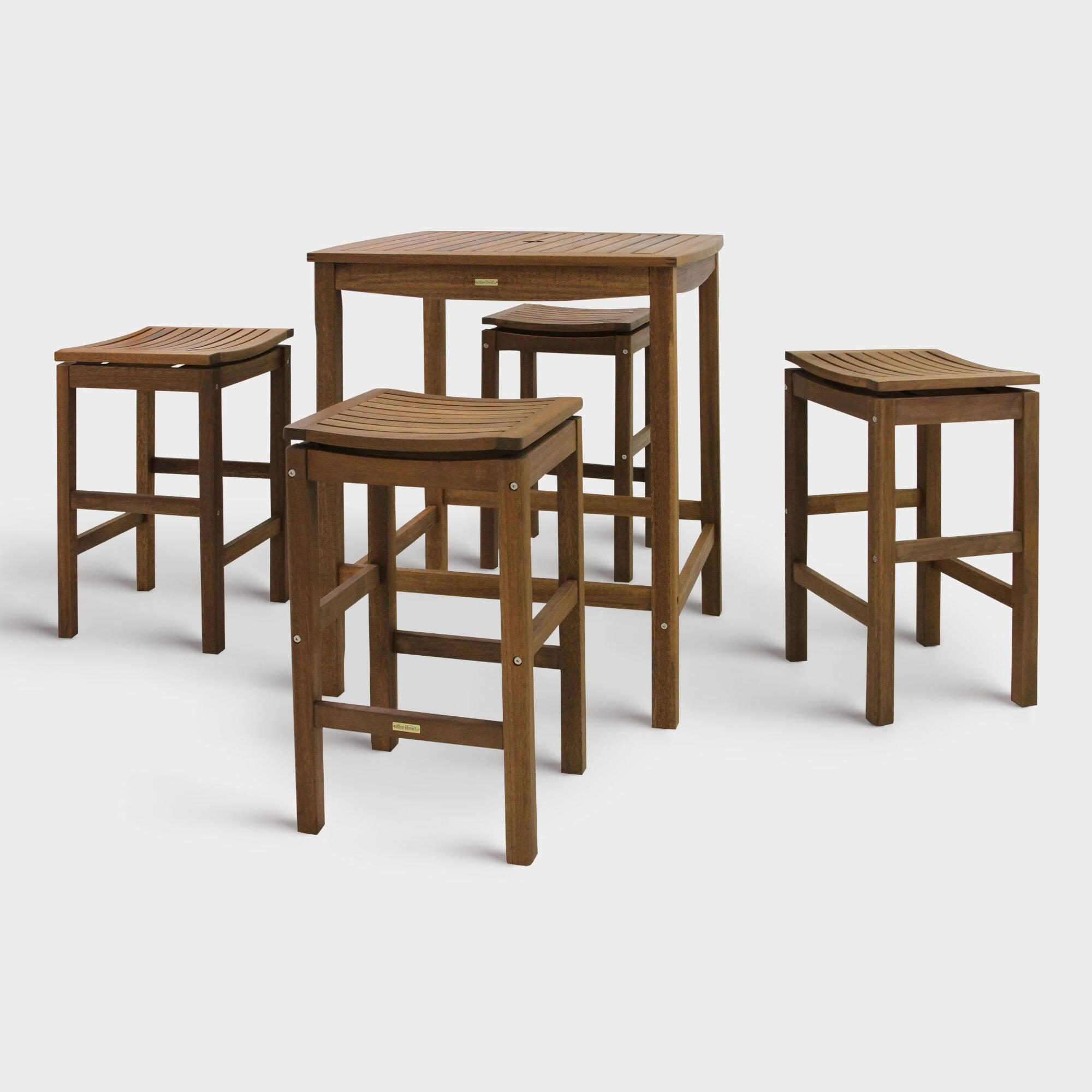 Square Wood Oreton Outdoor Patio Bar Table Collection by World Market