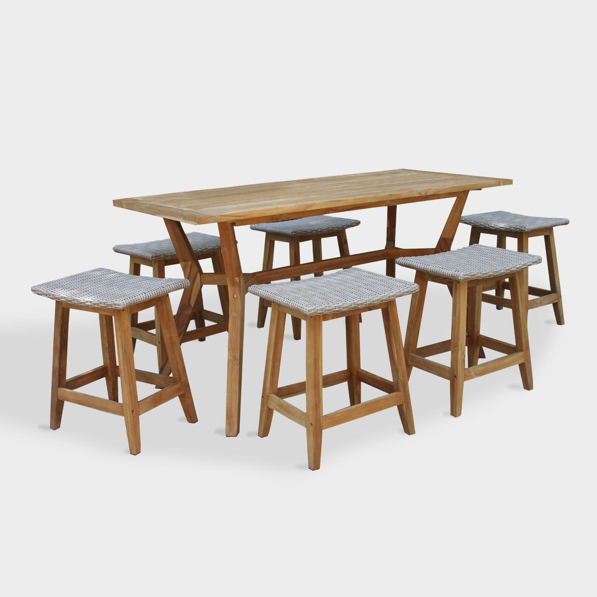 Teak Wood Nash Outdoor Patio Counter Height Dining Collection by World Market