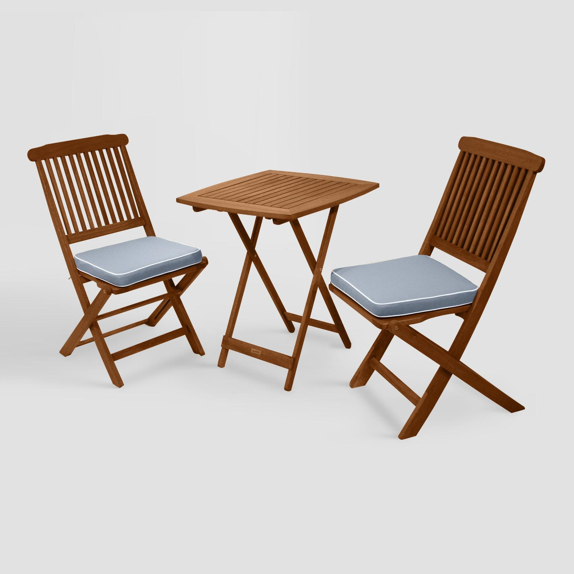 Wood Cavallo 3 Piece Outdoor Patio Bistro Set with Gray Cushions by World Market