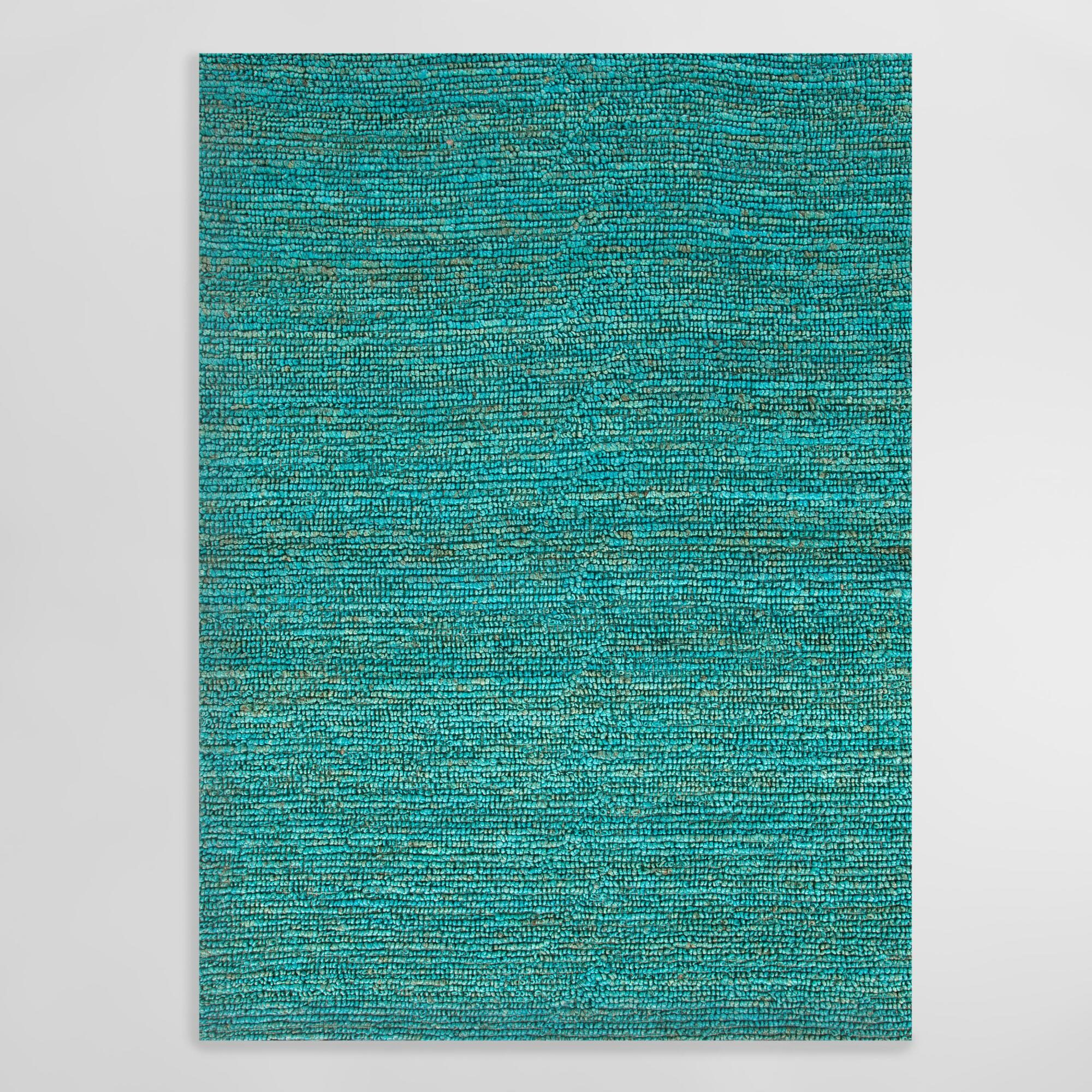 Aqua Deca Flat-Woven Jute Rug: Blue - 8' x 10' by World Market 8Ftx10Ft