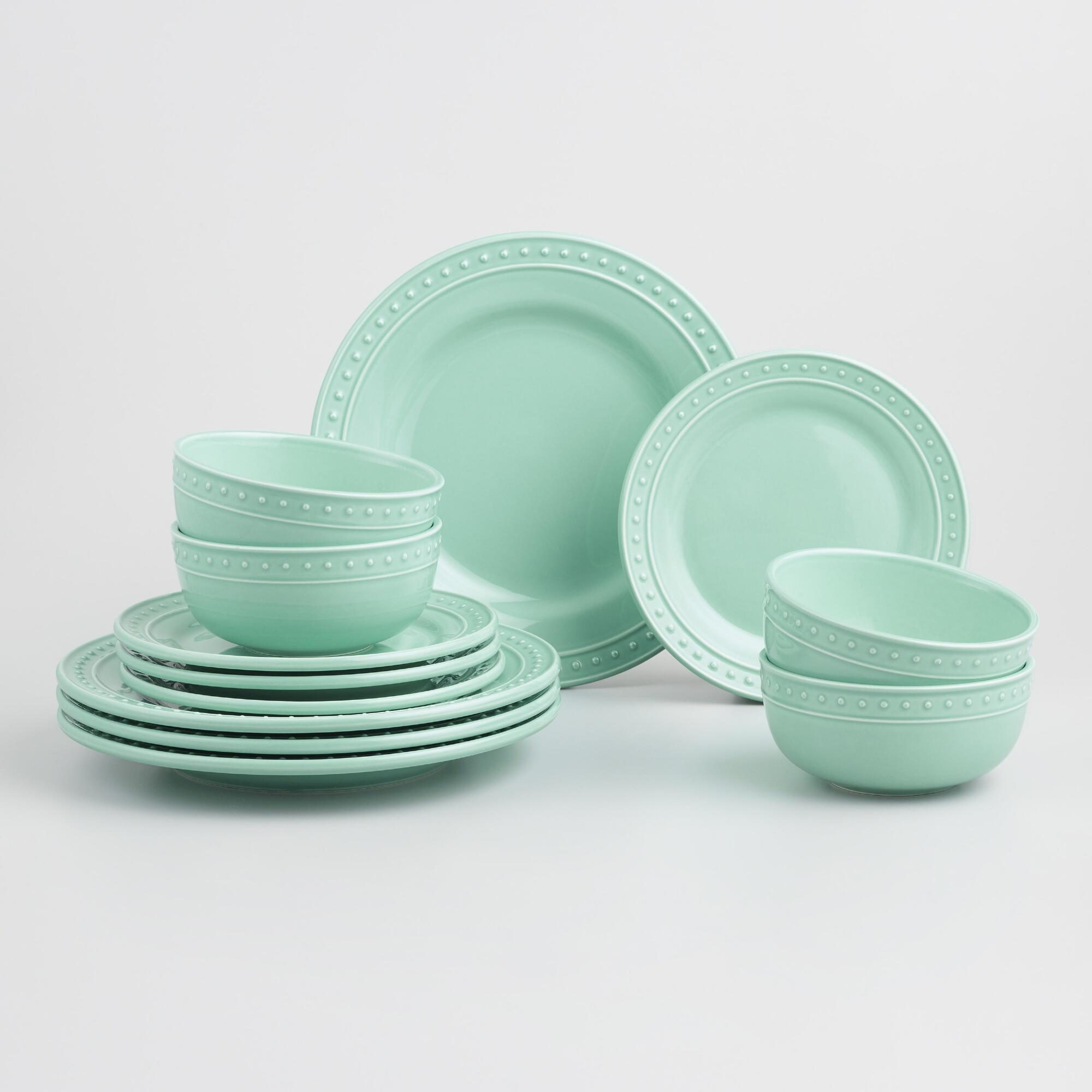 Aqua Nantucket Dinnerware 12 Piece Set by World Market