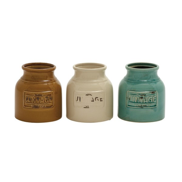Benzara Ceramic Cutlery Jar Set (Set of 3)