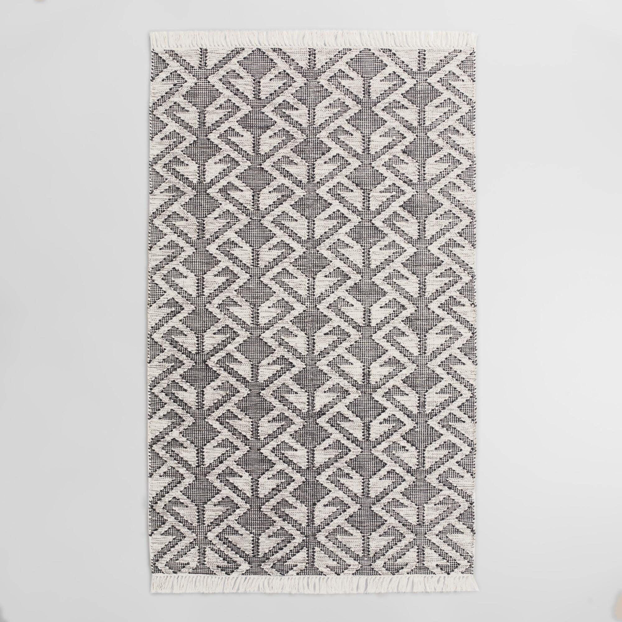 Black Graphic Woven Emerson Indoor Outdoor Patio Area Rug - Polyester - 5' x 8' by World Market 5Ftx8Ft