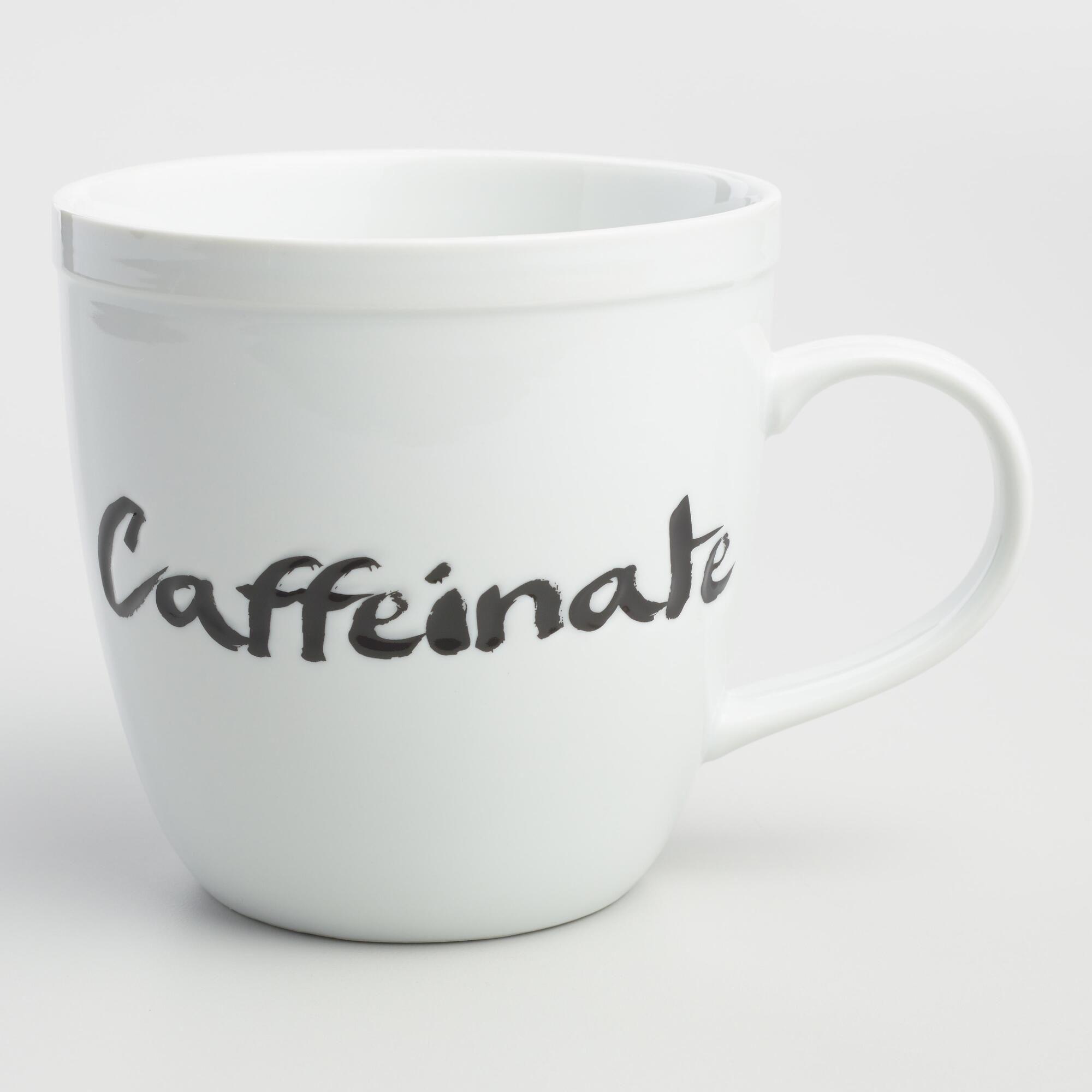 Caffeinate Mug: White - Porcelain by World Market
