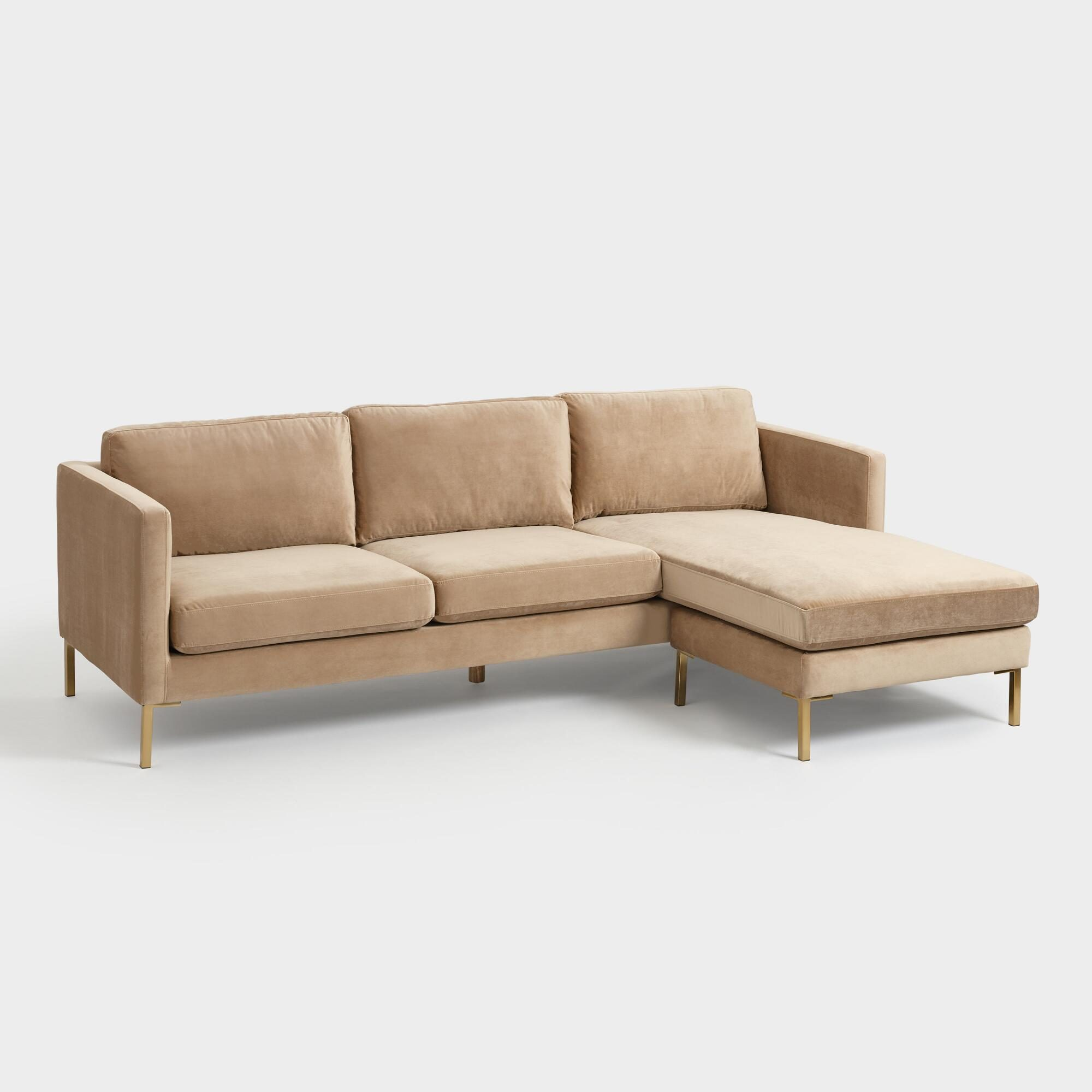 Camel Caitlin Sectional Sofa with Chaise: Natural by World Market