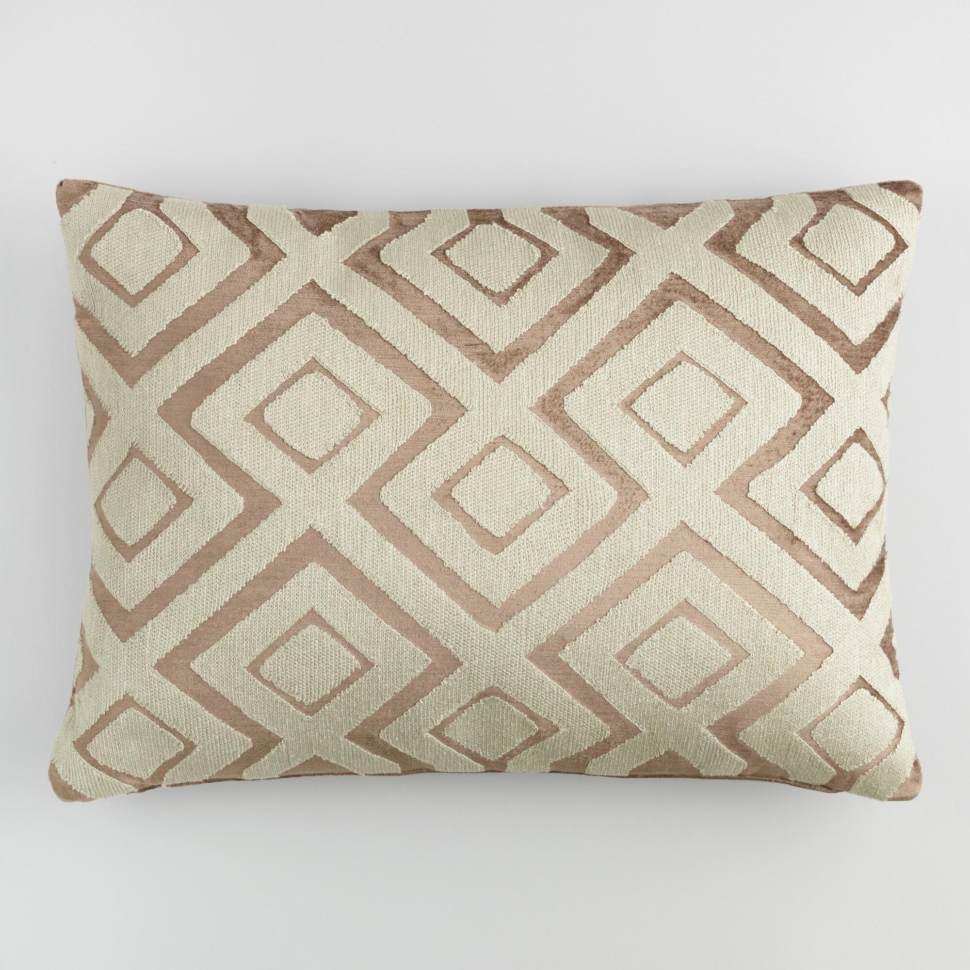 Copper Diamond Embroidered Velvet Lumbar Pillow: Brown by World Market