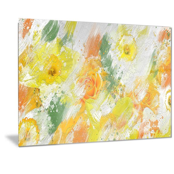Designart 'Abstract Daisies' Floral Metal Wall Art