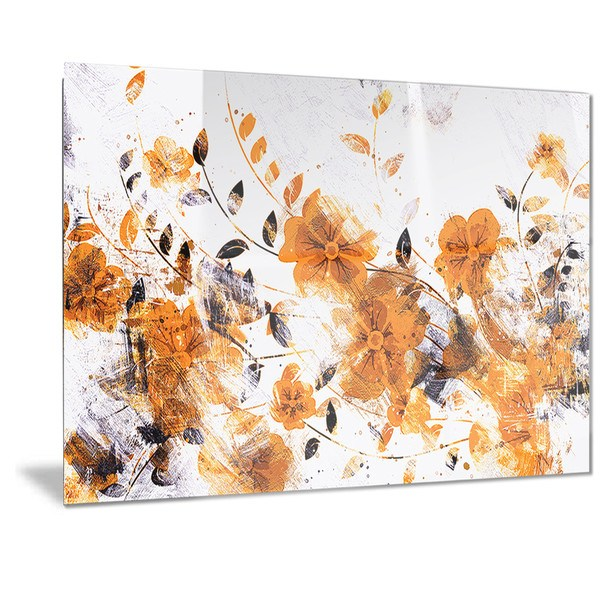 Designart 'Dark Yellow Flower Trail' Floral Metal Wall Art