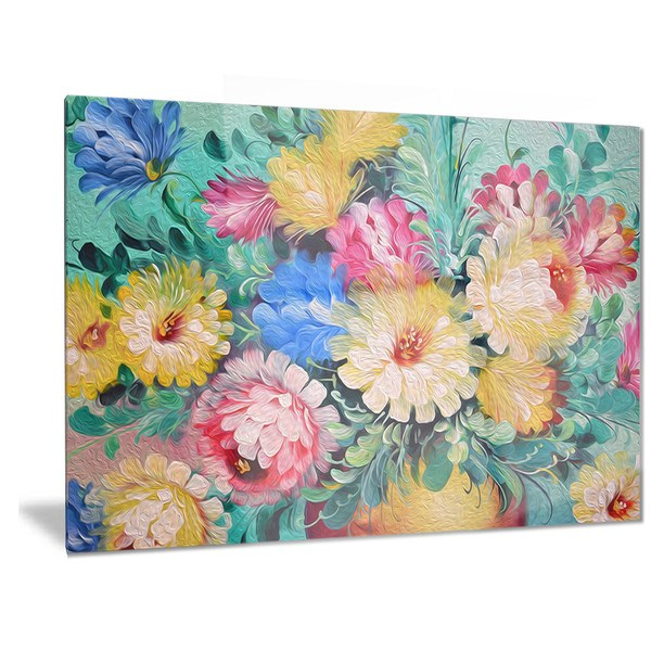 Designart 'Digital Flowers Art' Floral Metal Wall Art