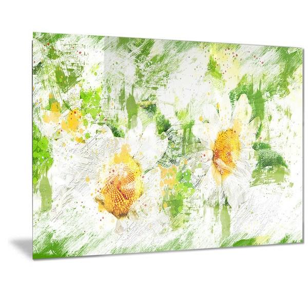 Designart 'Pair of White Flowers' Floral Metal Wall Art