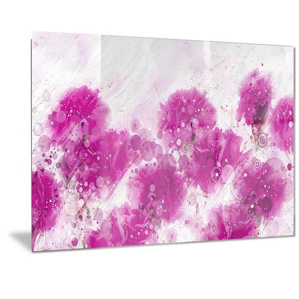 Designart 'Pink Dandelions' Floral Metal Wall Art