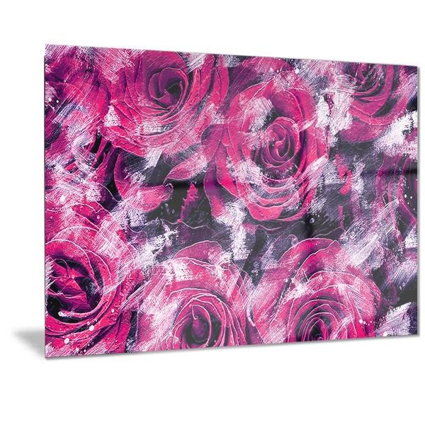 Designart 'Pink Rose Garden' Floral Metal Wall Art