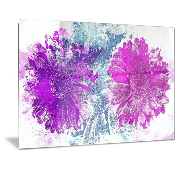 Designart 'Pink and Purple Sunflowers' Floral Metal Wall Art