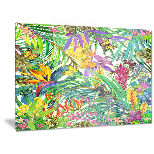 Designart 'Tropical Leaves and Flowers' Floral Metal Wall Art