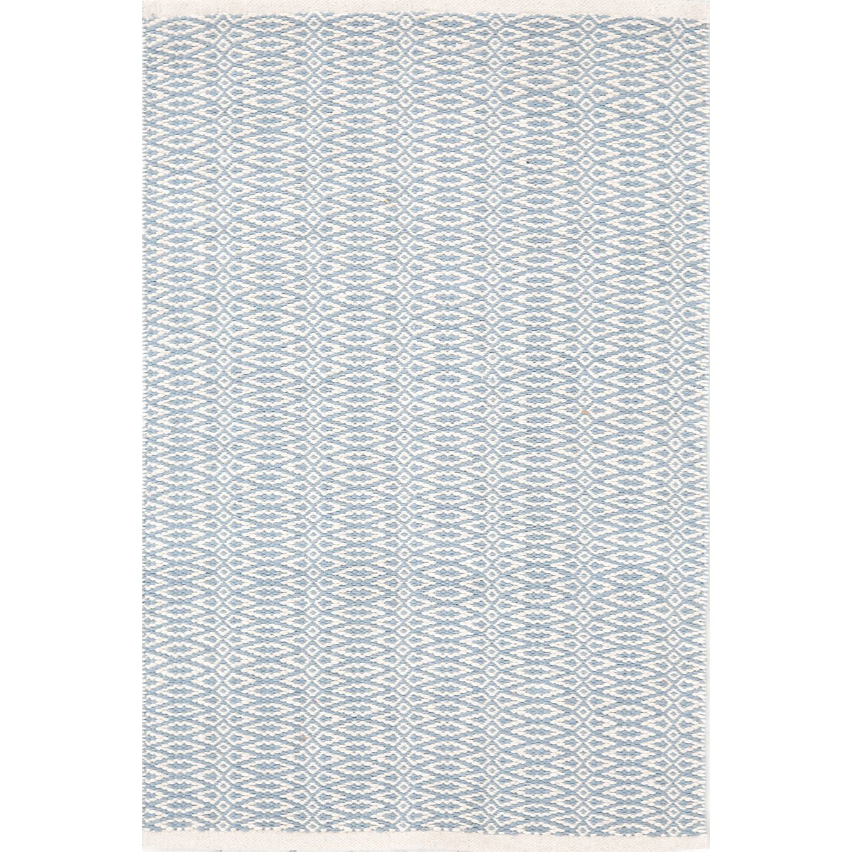Fair Isle Swedish Blue & Ivory Cotton Woven Rug design by Dash & Albert