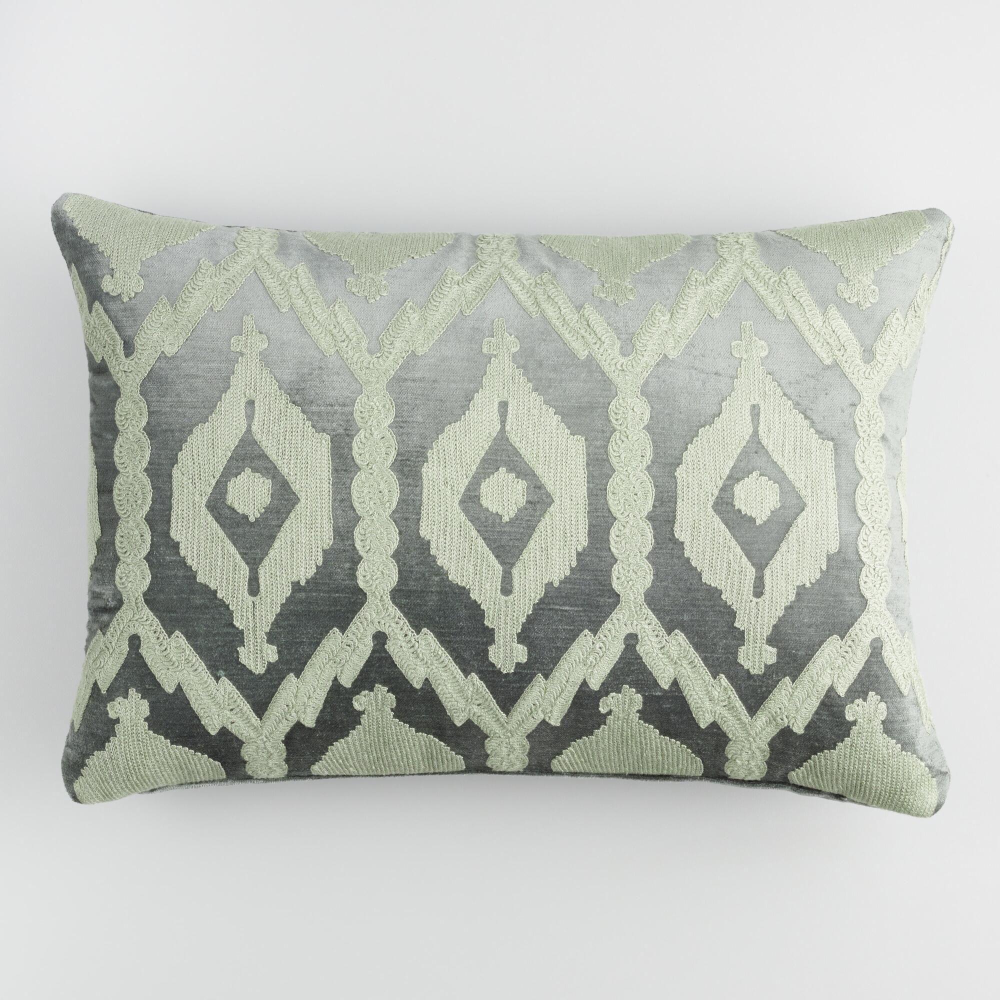 Frost Green Embroidered Velvet Lumbar Pillow by World Market