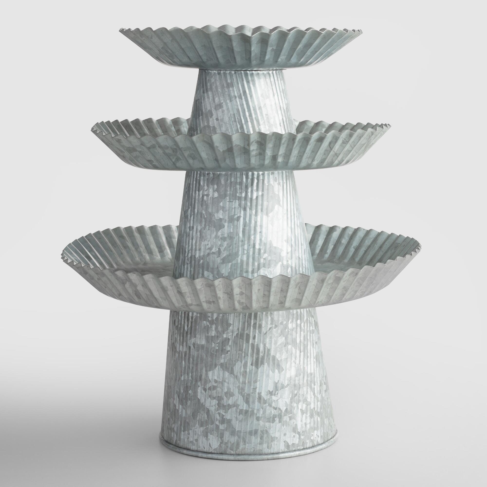 "Galvanized Cake Stand: Gray/Metallic - 8"" by World Market 8"""