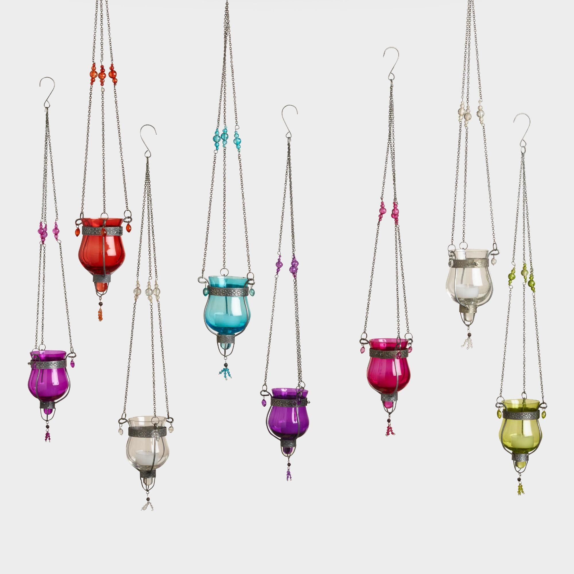 Glass Dahlia Hanging Tealight Lanterns Set of 8 by World Market
