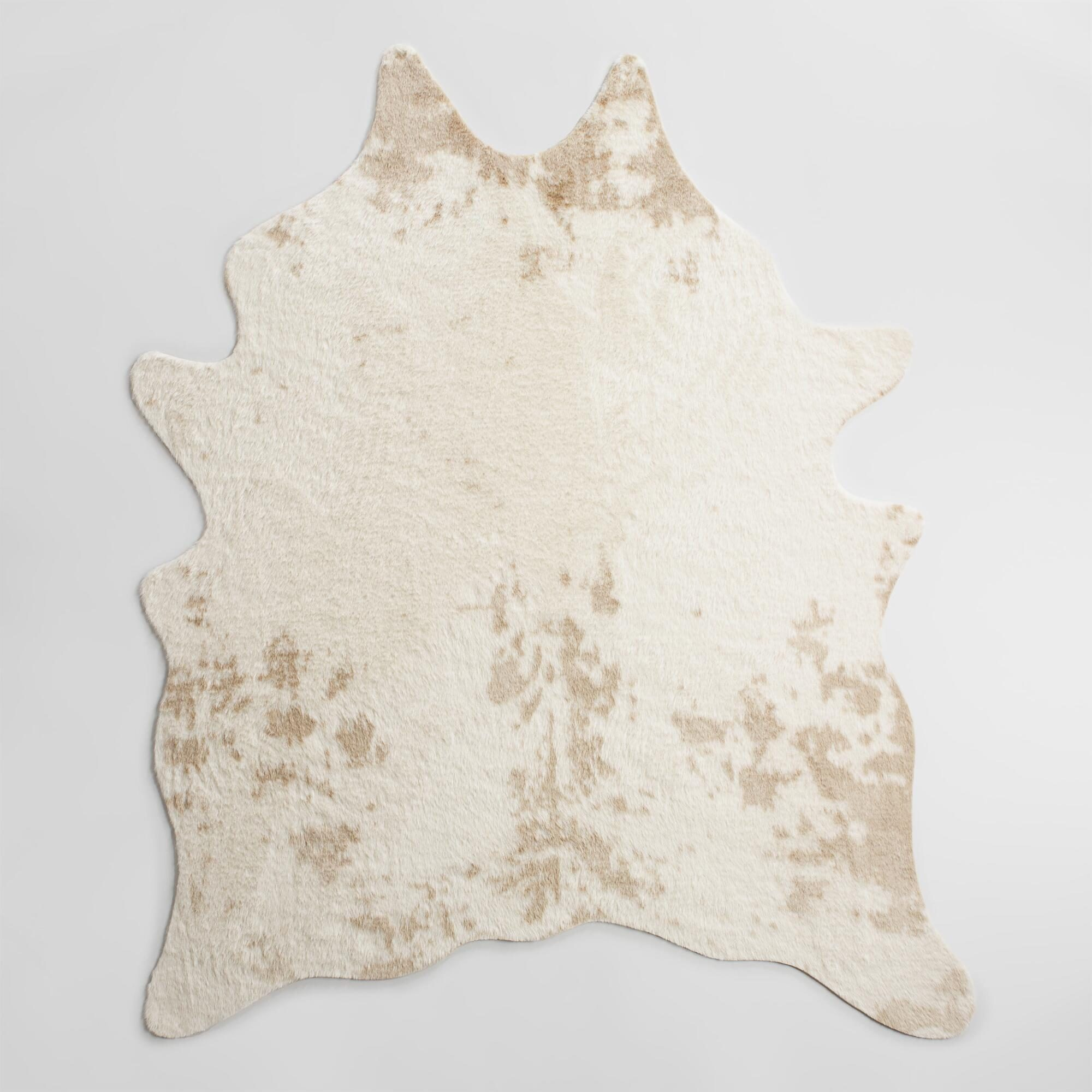 Ivory Printed Faux Cowhide Area Rug: White - Polyester - 5' x 8' by World Market 5Ftx6Ft7""